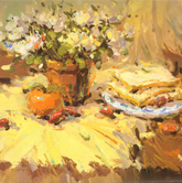 《国美2012年色彩静物高分试卷》浅黄衬布花盆花束盘子面包色彩作品