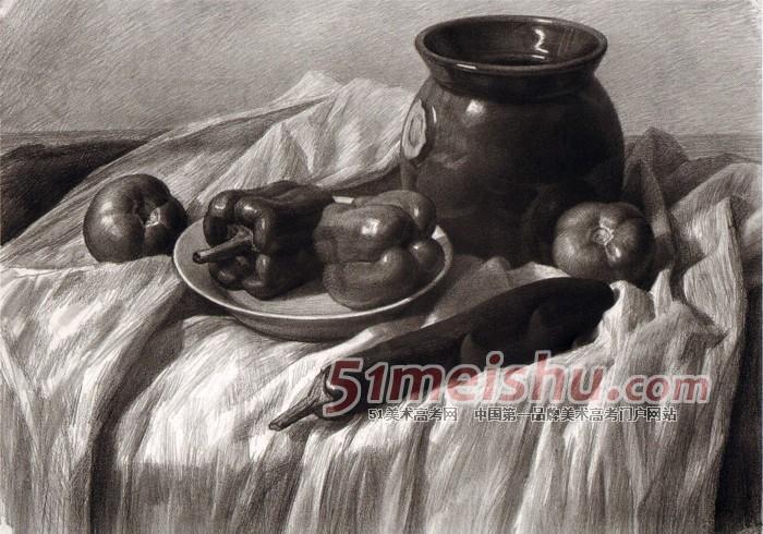 《黄楠素描静物经典教程》白衬布深色罐子蔬菜盘子静物素描