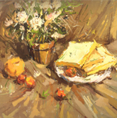 《国美2012年色彩静物高分试卷》黄衬布花束花盆水果盘子面包色彩作品