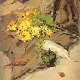 《国美2012年色彩静物高分试卷》褐衬布矿泉水蔬菜花束色彩作品