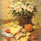 《国美2012年色彩静物高分试卷》黄衬布花盆花束水果盘子面包色彩作品