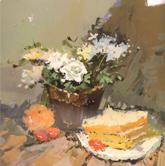 《国美2012年色彩静物高分试卷》橙色衬布花盆花束水果盘子面包色彩作品