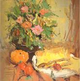 《国美2012年色彩静物高分试卷》橙色衬布花盆花束盘子面包水果色彩作品