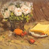 《国美2012年色彩静物高分试卷》褐色衬布花盆花束水果盘子面包色彩作品