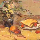 《国美2012年色彩静物高分试卷》黄衬布花瓶花束水果盘子面包色彩作品