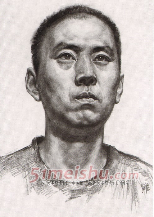 《沟通-素描石膏像-头像》男青年正面素描头像