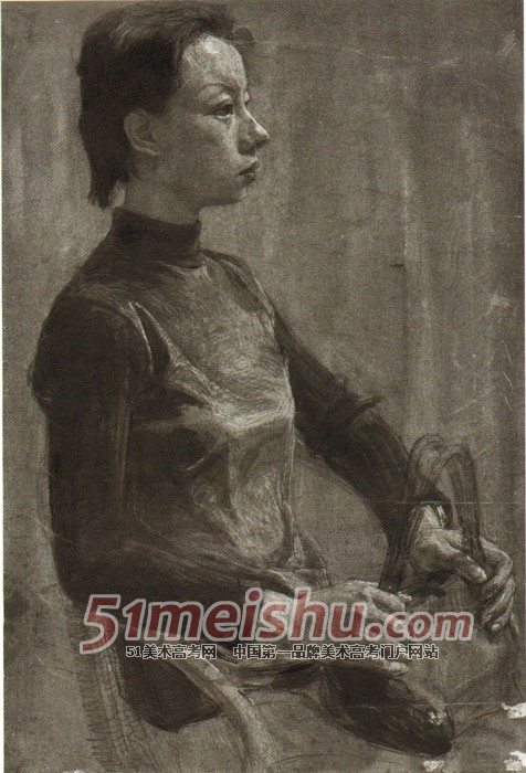 《央美精英档案》女青年侧面半身像素描