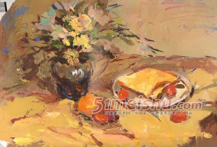 黄衬布花瓶花束水果盘子面包色彩作品