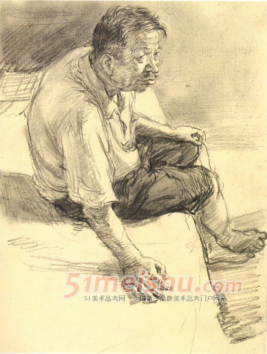 央美精英档案 老年男子 坐姿速写 人物速写