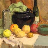 《教学视界-色彩静物课题训练》绿衬布橙衬布米衬布酒瓶深罐水果色彩作品