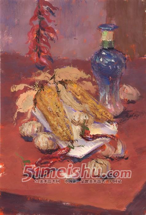 蓝衬布白衬布盘子水果面包酒瓶色彩作品_水粉