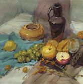 褐衬布蓝衬布高矮陶罐水果高脚杯色彩作品