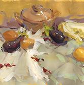 桌面浅衬布蔬菜砂锅玻璃杯色彩作品