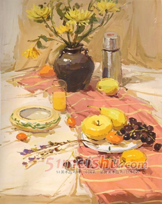 粉红衬布花瓶花束保温杯水果盘子瓷罐色彩作品