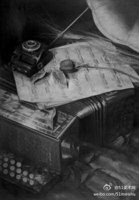 《书房一角》设计素描参考作品