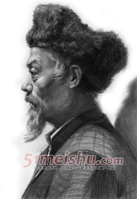 头像 老年/老年男子侧面头像素描作品06