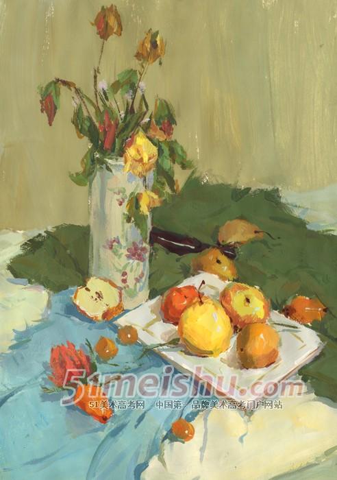 绿色蓝色衬布花瓶花束盘子水果08