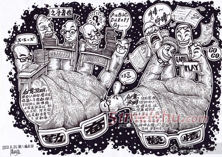 北京工业大学2013年美术校考创意速写考题《用玩具表现关爱》