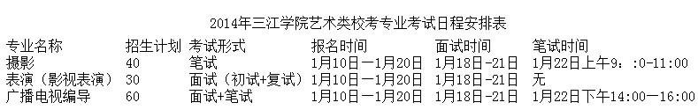 三江学院2014艺术类专业校考