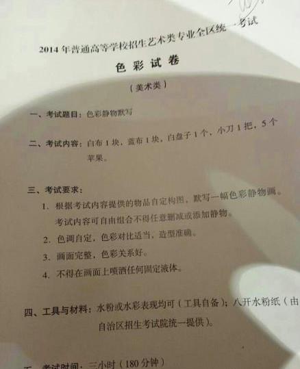 广西2014年美术联考/统考考题图片