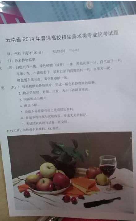 2014年云南美术统考考题(云南美术联考题目)图片
