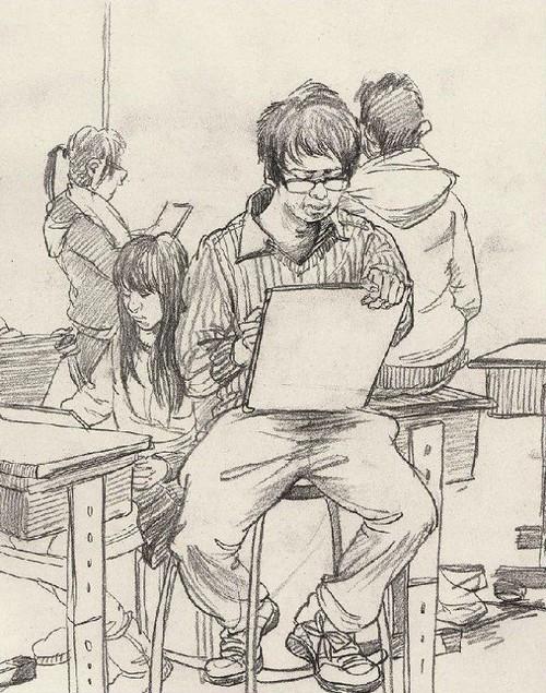 大学生创意素描风景