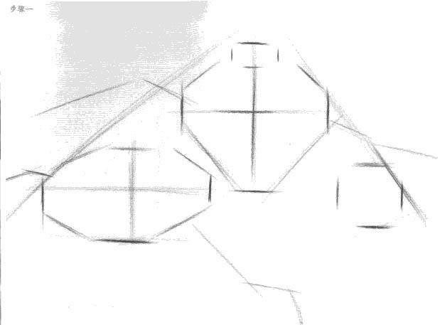 静物结构素描之瓷瓶与苹果绘画步骤分解