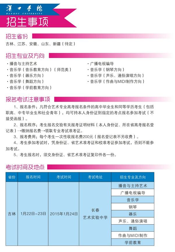 汉口学院2015年艺术类专业招生简章