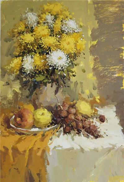 油画花卉画法步骤图