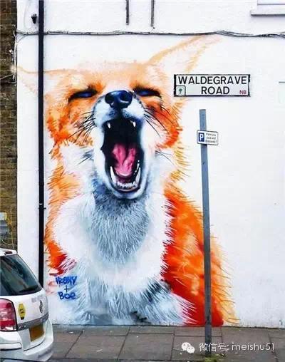狂拽叼酷炫的街头动物涂鸦!
