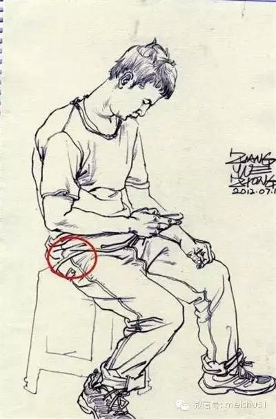 速写人物坐姿腰部画法总结!