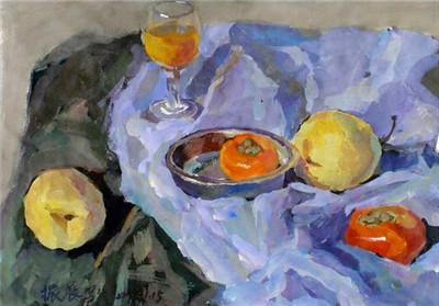 色彩静物中主要水果的画法图片
