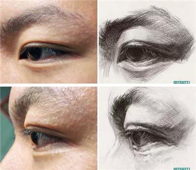 侧脸眼睛素描步骤
