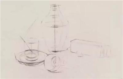 素描静物玻璃器皿组合画法教程!