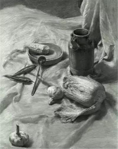石膏三角体素描图片
