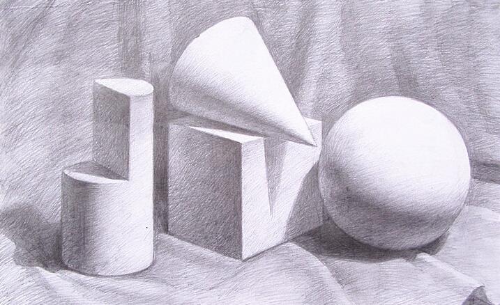 素描被削的圆柱几何步骤解析图图片