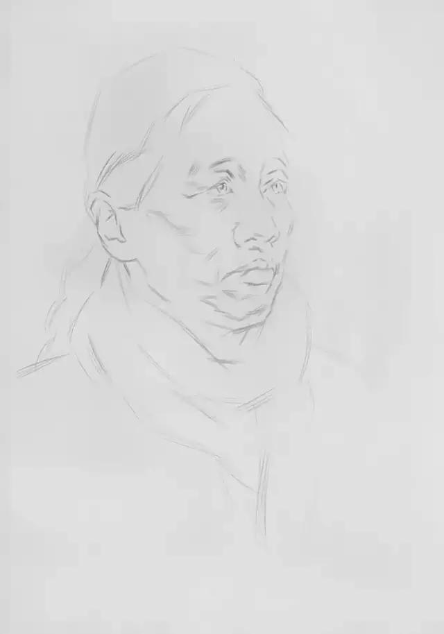 【头像】素描头像知识要点之女老年作画步骤详解