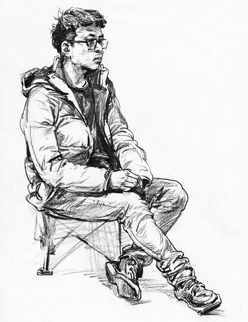 单人速写之男青年坐姿速写作品