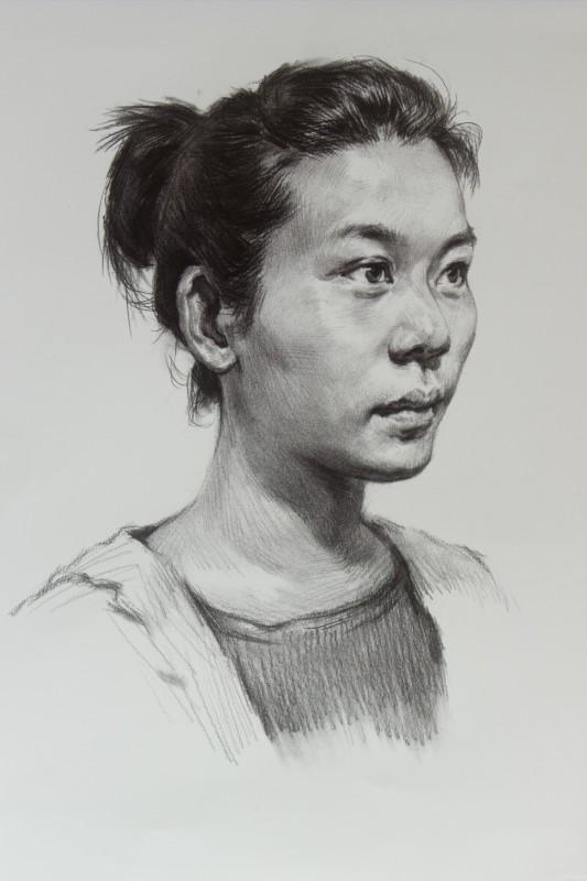 女头像四分之三侧素描美术_青年素描-51视频云轨济宁头像图片
