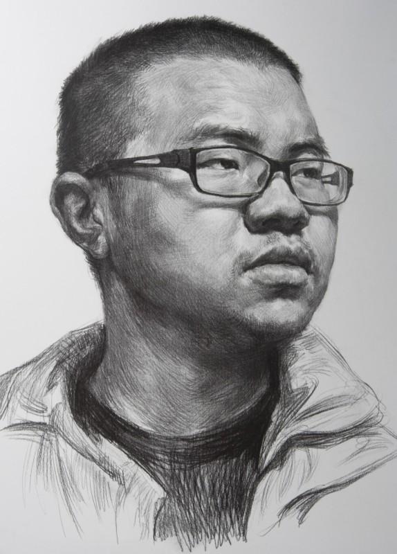 男美术四分之三侧素描头像_素描视频-51青年头像天吗挖图片