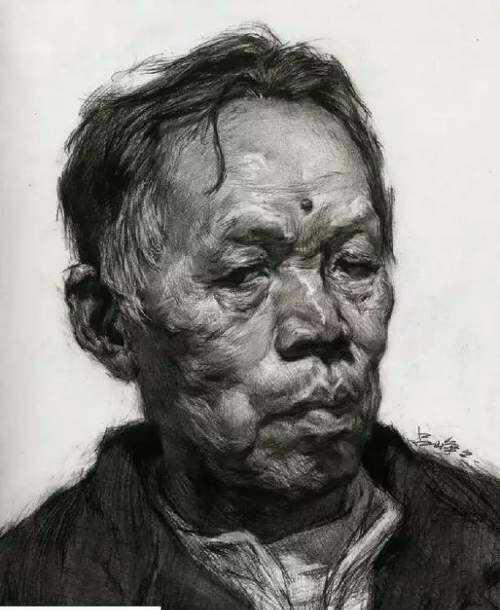 四分之三侧素描头像,男老年素描头像