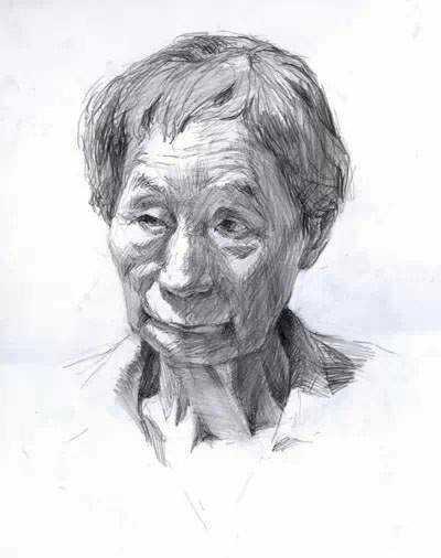 女老年正面素描头像