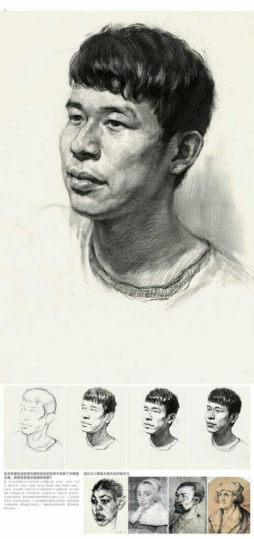 男青年四分之三侧素描头像