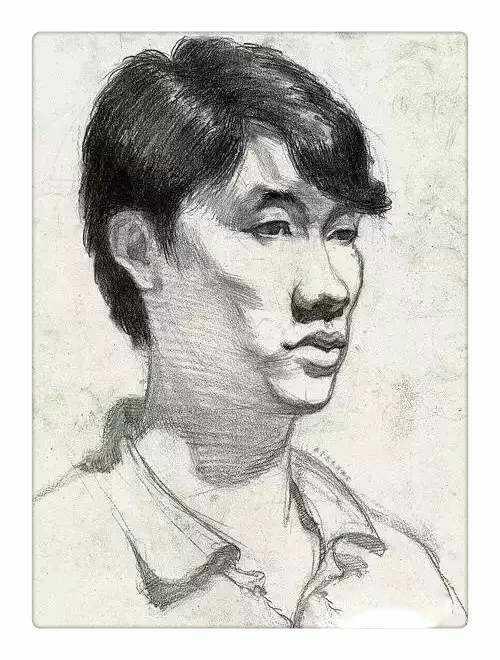男技能三分之二侧视频素描青年头像关羽图片