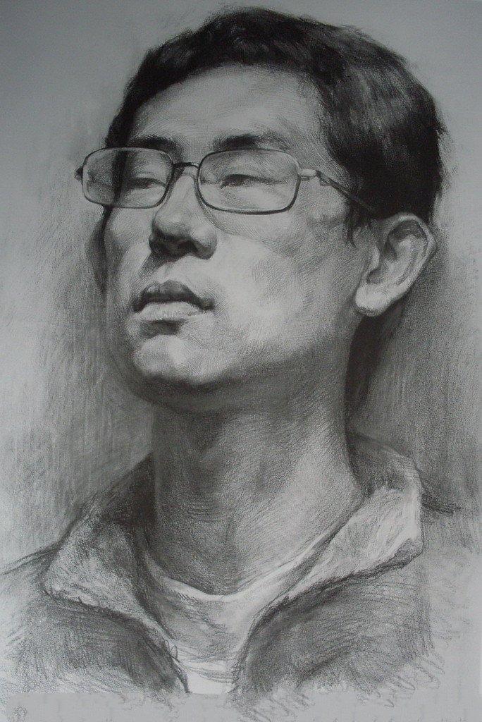 男青年素描头像画法
