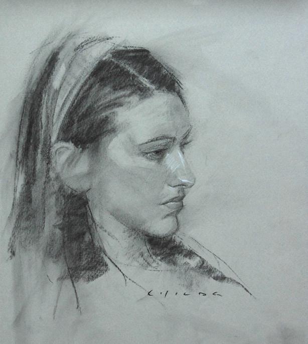 女青年正侧面素描头像