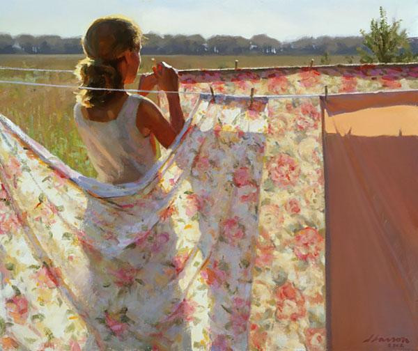 【晾衣被的妇女】-美国画家---jeffreyt,larson