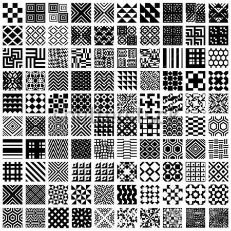 百种能拿高分的纹样素材 黑白装饰画图片