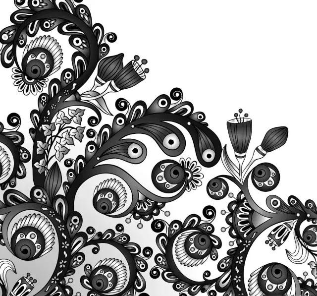 黑白手绘点线面图片