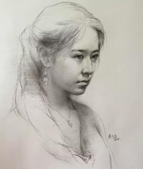 女青年素描头像